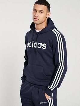 Adidas   3 Stripe Essential Over Head Hoodie - Ink