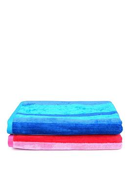 Downland Downland Pair Of Striped Super Soft Beach Towels &Ndash; Pink And  ... Picture