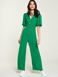 v-by-very-v-neck-button-through-belted-jumpsuit-green