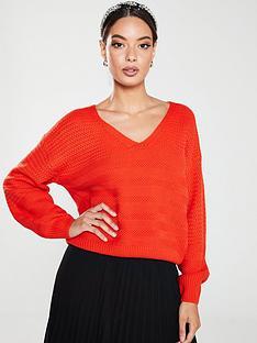 v-by-very-horizontal-knit-detail-jumper-orange