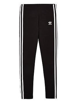 adidas Originals Adidas Originals Youth 3 Stripe Leggings - Black/White Picture