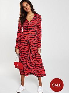 090dc05a8f14 V by Very Ruffled Animal Print V-Neck Midi Dress - Red