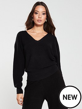 v-by-very-ribbed-batwing-co-ord-jumper-black