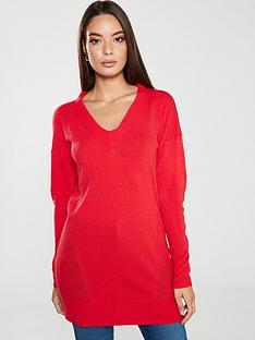 v-by-very-mesh-panelnbsplongline-jumper-coral-red