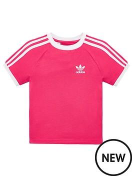 48c0496fb47 adidas Originals Little Kids 3 Stripe T-Shirt - Pink/White ...