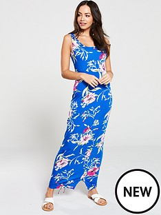 d5852969bbf V by Very Side Gathered Floral Jersey Maxi Dress - Blue