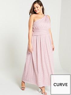 67529fdb980a Little Mistress Curve One Shoulder Corsage Maxi Dress - Rose
