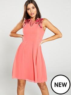 304cb4590843 Little Mistress V-Neck Floral Embellished Skater Dress - Coral