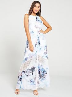 little-mistress-lace-insert-floral-print-chiffon-maxi-dress-ndash-multi
