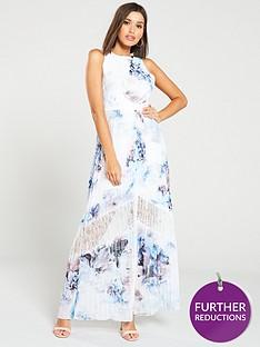 decc5d135245 Little Mistress Lace Insert Floral Print Chiffon Maxi Dress – Multi