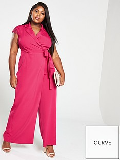 21e80124449 Little Mistress Curve Wrap Lace Back Jumpsuit - Pink