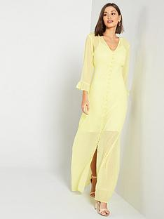 yas-textured-fluted-cuff-maxi-dress-yellow