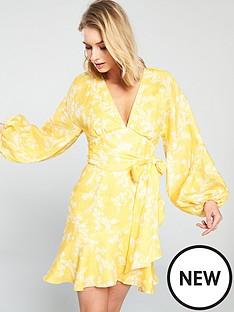 keepsake-fallen-long-sleeve-printed-mini-dress-yellow