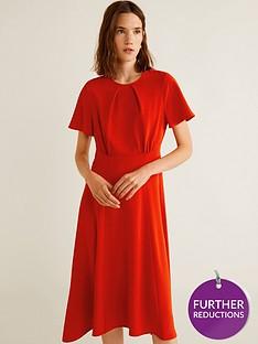mango-flared-short-sleeve-flowy-midi-dress-red