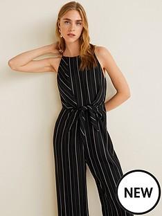 mango-tie-front-stripe-jumpsuit-black