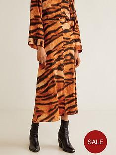 mango-tiger-print-midi-skirt-orange