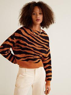 mango-tiger-knitted-jumper-orange