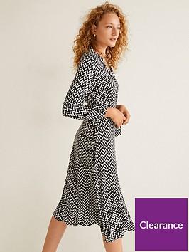 mango-chevron-wrap-midi-dress-black