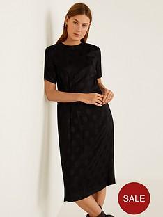mango-jacquard-spot-midi-dress-black