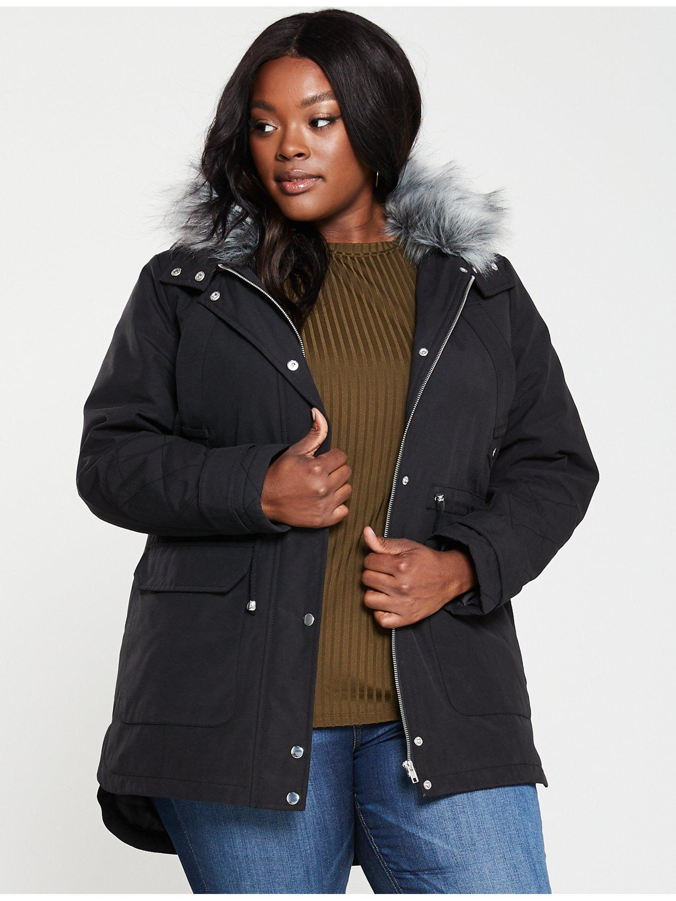Size 14 Womens Black Parka Coat Long Jacket Parker Padded Quilt Girls Ladies