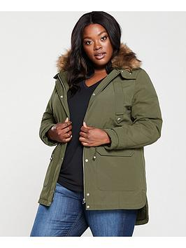 V by Very Curve V By Very Curve Faux Fur Parka Coat - Khaki Picture