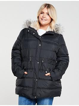 V by Very Curve V By Very Curve Faux Fur Longline Padded Coat - Black Picture