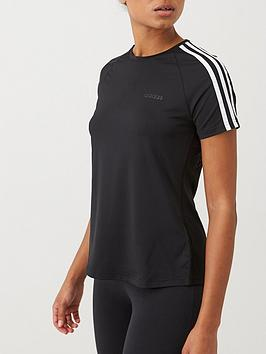 Adidas   D2M 3 Stripe Tee - Black