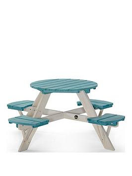 plum-wooden-circular-picnic-table-with-seats-teal