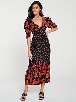 v-by-very-mixed-print-midi-dress-blackfloral