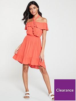 v-by-very-bardot-halter-crinkle-rayon-summer-dress-coral