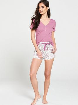 v-by-very-rib-henley-top-and-short-pj-set-floral