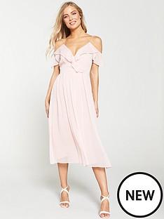 32c0f34251 V by Very Cold Shoulder Woven Midi Dress - Blush