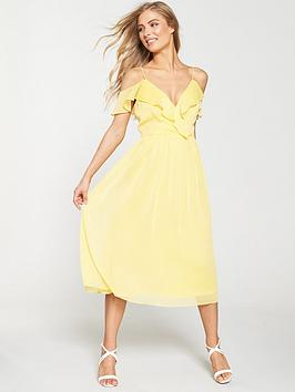 v-by-very-cold-shoulder-woven-midi-dress-yellow