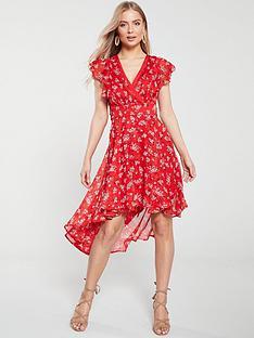 2bdc94d665 V by Very Wrap Dip Back Woven Tea Dress - Red Print