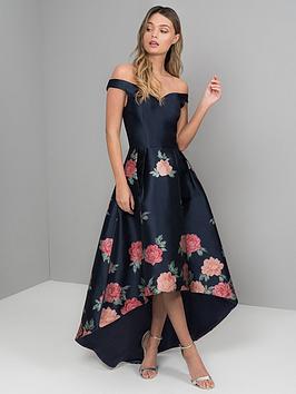 chi chi london Chi Chi London Hazel Bardot High Low Dipped Hem Dress - Navy Picture
