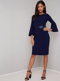 chi-chi-london-beau-waist-detail-midi-dress-navy