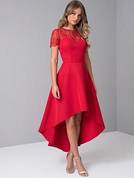 chi chi london Chi Chi London Oti Lace Back High Low Midi Dress - Red Picture