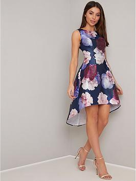 chi chi london Chi Chi London Marigold Dip Hem Floral Prom Dress - Navy Picture