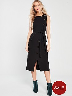 warehouse-button-crepe-dress-black