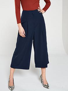 warehouse-soft-pleat-culottenbsp--navy