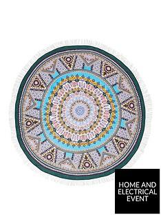 river-island-blue-boho-print-circle-towel