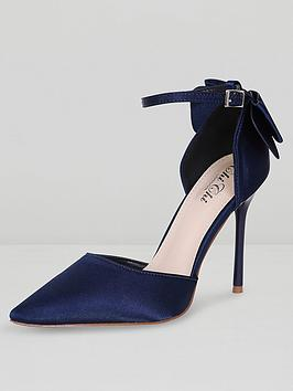 chi chi london Chi Chi London Jenna Bow Back Ankle Strap Court Shoes - Navy Picture
