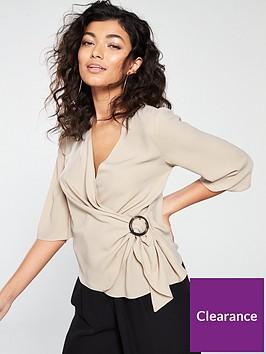 river-island-buckle-wrap-blouse-beige