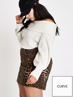 ri-plus-animal-print-denim-skirt