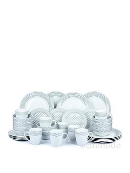 WATERSIDE Waterside Grey And White Droplet Print 32-Piece Dinner Set Picture