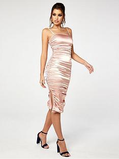 the-girl-code-stretch-satin-ruched-midi-dress-champagne