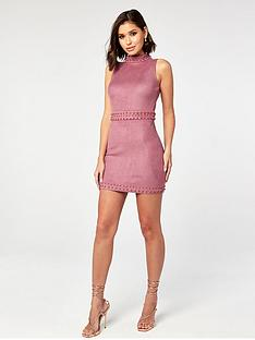 the-girl-code-high-neck-studded-suede-dress-mauve