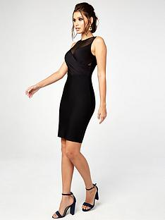 the-girl-code-wrap-over-mesh-and-bandage-pencil-dress-black