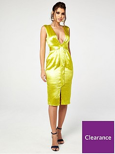 the-girl-code-satin-pleat-and-plunge-midi-dress-with-waist-tie-yellow