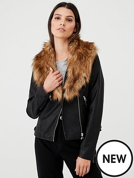 v-by-very-pu-biker-with-faux-fur-collar-black